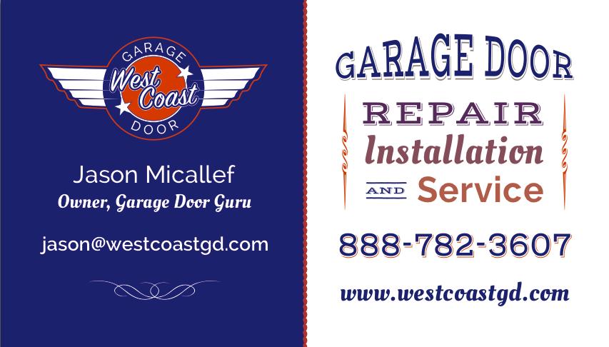 West Coast Garage Door Business Card